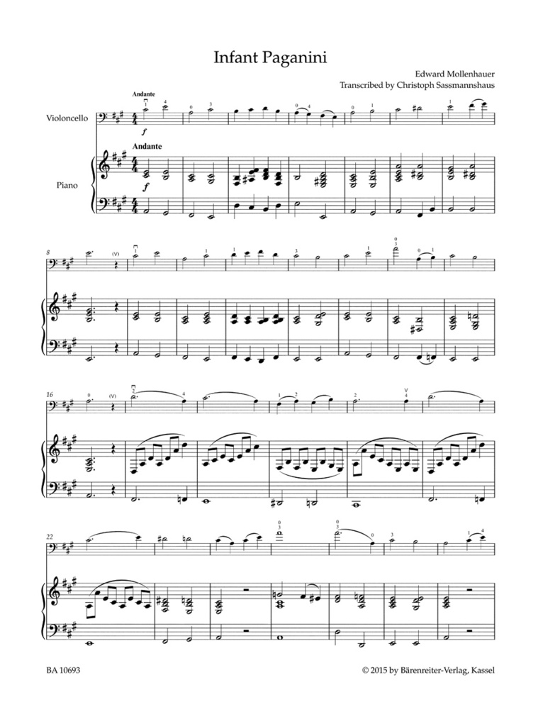 All Music Chords simple gifts cello sheet music : Barenreiter's Concert Pieces: The Infant Paganini for Cello & Piano