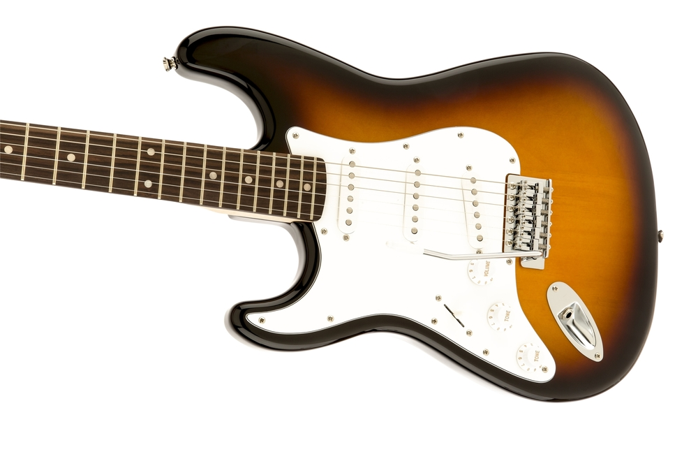 guitars fender squier affinity series stratocaster left handed brown sunburst laurel. Black Bedroom Furniture Sets. Home Design Ideas