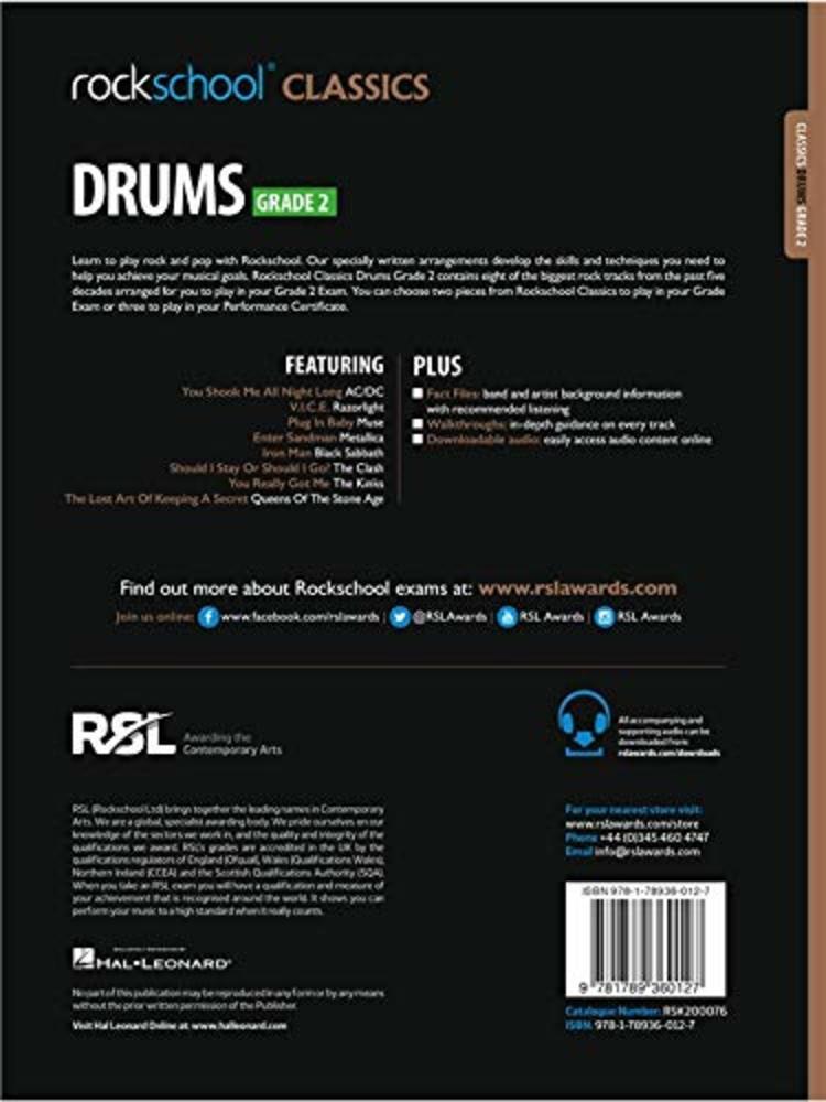 Rockschool Classics Drums: Tracks for Grade 2