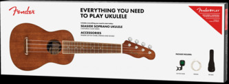 Fender Seaside Soprano Ukulele Pack, Natural With Case, Strings And Tuner