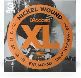 D'Addario EXL140-3D Nickel Wound Electric Guitar Strings, Light / Heavy, 10-52 - 3 sets