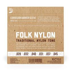 D'Addario EJ32 Silver Wound/Black Nylon Trebles Folk Nylon Guitar Strings, Ball End
