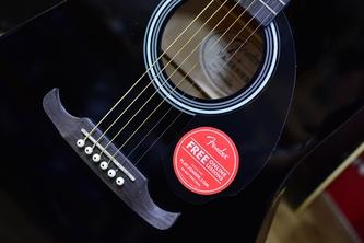 Fender Alternative FA-125 Dreadnought Black Acoustic Guitar & Case