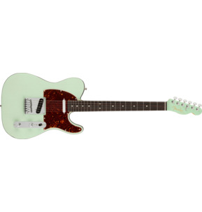 Fender American Ultra Luxe Telecaster Transparent Surf Green Electric Guitar & Case