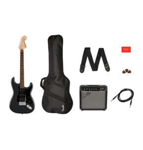 Fender Squier Affinity Series Stratocaster HSS Charcoal Frost Metallic Electric Guitar Pack
