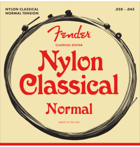 Fender 130 Nylon Classical Ball End Guitar Strings, Normal Tension, 28-43, Long Scale