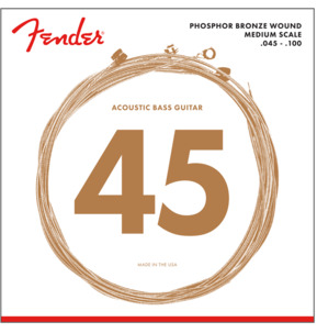 Fender 7060 Phosphor Bronze Acoustic Bass Guitar Strings, Light, 45-100, Medium Scale