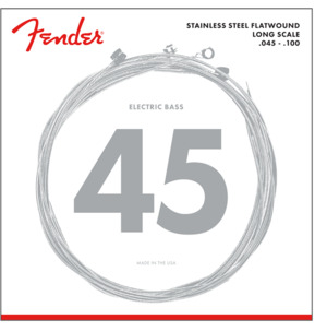 Fender 9050 Stainless Steel Flatwound Bass Guitar Strings, Light, 45-100, Long Scale