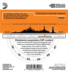 D'Addario EXP15 Coated Phosphor Bronze, Extra Light, 10-47 Acoustic Strings