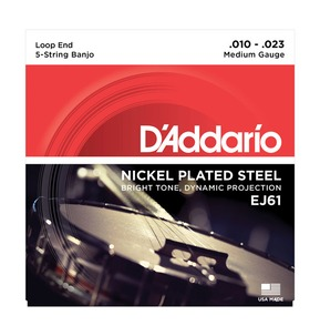 D'Addario EJ61 5-String Banjo, Nickel, Medium, 10-23 Banjo Strings