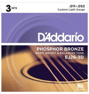 D'Addario EJ26-3D Phosphor Bronze, Custom Light, 11-52 Acoustic Strings x 3 Sets