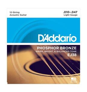 D'Addario EJ38 12-String Phosphor Bronze, Light, 10-47 Acoustic Strings