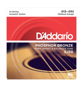 D'Addario EJ39 12-String Phosphor Bronze, Medium, 12-52 Acoustic Strings