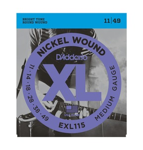D'Addario EXL115 Nickel Wound Electric Guitar Strings, Medium, 11-49