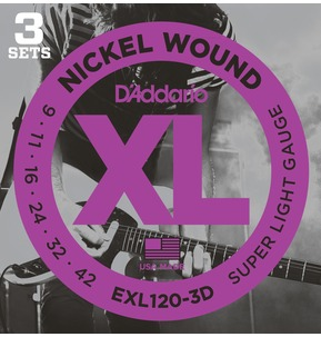 D'Addario EXL120-3D Nickel Wound Electric Guitar Strings, Super Light, 9-42 - 3 Sets