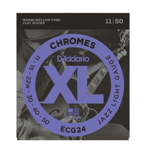 D'Addario ECG24 Chromes Flat Wound, Jazz Light, 11-50 Electric Strings
