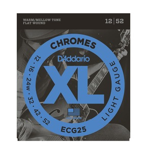 D'Addario ECG25 Chromes Electric Guitar Strings, Flat Wound, Light, 12-52