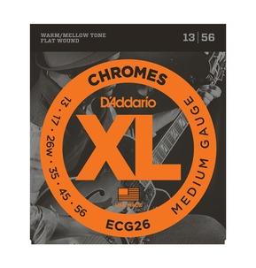 D'Addario ECG26 Chromes Electric Guitar Strings, Flat Wound, Medium, 13-56