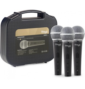 Stagg SDM50-3 Set of 3 Professional Cardioid Dynamic Microphones