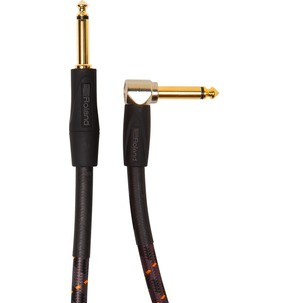 Roland's RIC-G10A Gold Series Instrument Cable 10ft/3m - Straight to right-angle 1/4-inch connectors