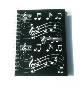 Little Snoring Gifts: A6 Hardback Spiral Bound Notebook - Black With White Musical Notes