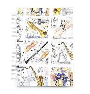Little Snoring Gifts: A6 Hardback Spiral Bound Notebook - Musical Instruments