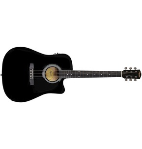 Fender Squier Dreadnought Cutaway, SA-105CE, Black Electro Acoustic Guitar