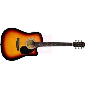 Fender Squier SA-105CE Dreadnought Cutaway Electro Acoustic Guitar, Sunburst