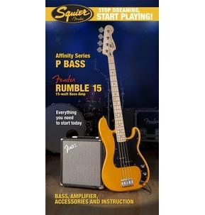 Fender Squier Affinity Precision Bass & Rumble 15 Amp, Butterscotch Blonde