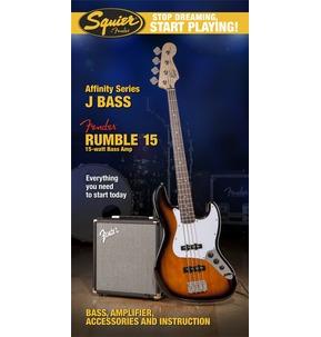Fender Squier Affinity Jazz Bass & Rumble 15 Amp, Brown Sunburst