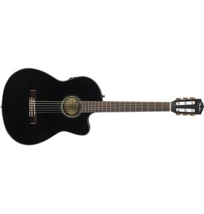 Fender CN-140SCE Electro Classical Nylon Thinline Guitar, Black w/ Hard Case