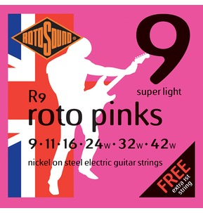 Rotosound R9 Roto Pinks Super Light 9-42w Electric Guitar Strings
