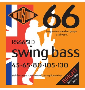 Rotosound RS665LD Swing Bass Long Scale 5 String Set 45-130 Bass Guitar Strings