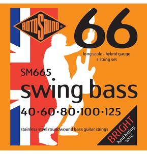 Rotosound SM665 Swing Bass Long Scale 5 String Set 40-125 Bass Guitar Strings