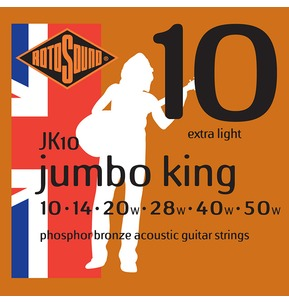 Rotosound JK10 Jumbo King Extra Light 10-50w Acoustic Guitar Strings