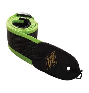 Rotosound STR11 High Quality Strap With Leather Ends - Green Stripes