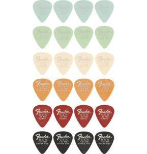 Fender 351 Shape Dura-Tone Delrin Assorted Gauges Guitar Pick - Variety Pack of 24