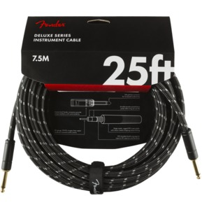 Fender Deluxe Series Instrument Cable, Straight/Straight, 25', Black Tweed