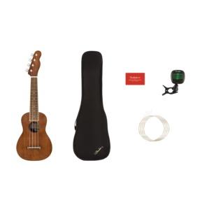 Fender Seaside Soprano Ukulele Pack, Natural With Case, Strings And Tuner