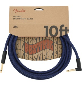 Fender 10' Angled Festival Instrument Cable, Pure Hemp, Blue Dream