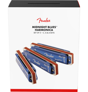 Fender Midnight Blues Harmonica, Set Of 3 With Case, C, G & A Keys