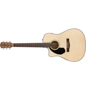 Fender CD-60SCE  Dreadnought Left-Handed Electro Acoustic Guitar, Natural, Walnut