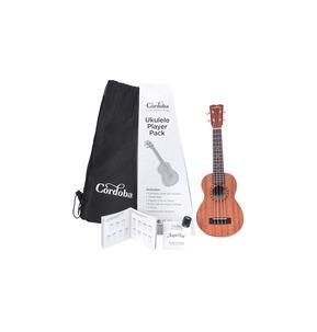 Cordoba Ukulele Player Pack; Includes Soprano Ukulele, Bag, Digital Tuner & Book