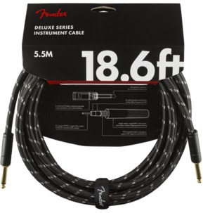 Fender Deluxe Series Instrument Cable, Straight/Straight, 18.6', Black Tweed