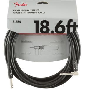 Fender Professional Series Instrument Cable, Straight/Angle, 18.6', Black
