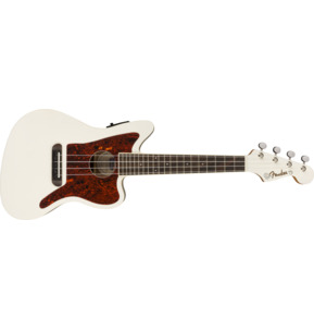 Fender Fullerton Jazzmaster Uke Electro Ukulele, Olympic White