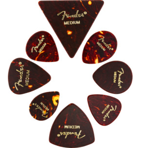 Fender All Shapes Medley Celluloid Tortoise Shell Medium Guitar Pick - Variety Pack of 8