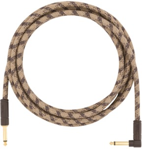 Fender 10' Angled Festival Instrument Cable, Pure Hemp, Brown Stripe