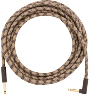 Fender 18.6' Angled Festival Instrument Cable, Pure Hemp, Brown Stripe