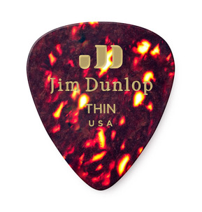 Dunlop Celluloid Tortoise Shell Thin Guitar Pick - Pack of 12